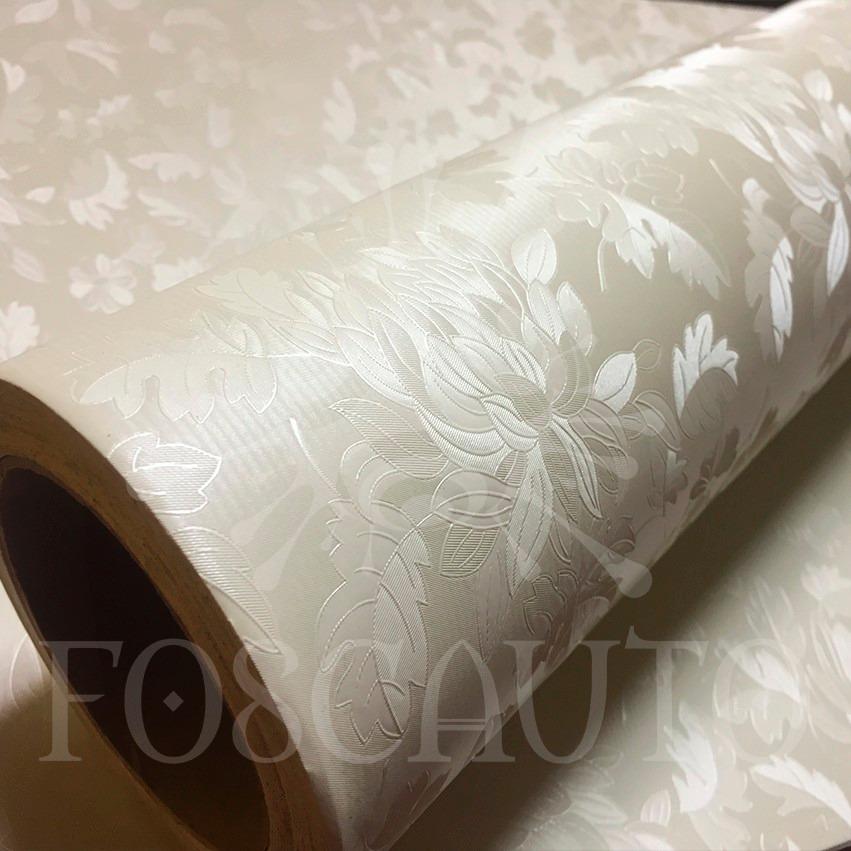 Vinil adesivo decorativo floral bege textura 3d 1m x - Papel vinilico para paredes ...