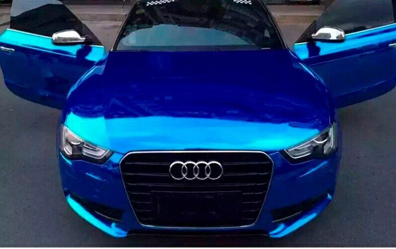 Vinil azul cromo espejo auto wrap wrapping carro forrado for Espejo para ver al bebe en el auto