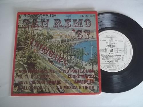 vinil compacto ep - 8 canções de san remo 67