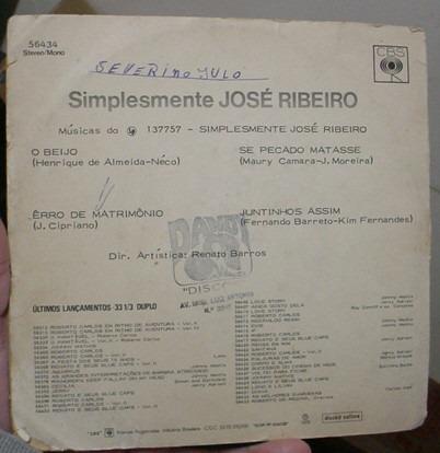 vinil compacto simplesmente, jose ribeiro 1972   -  tfs1