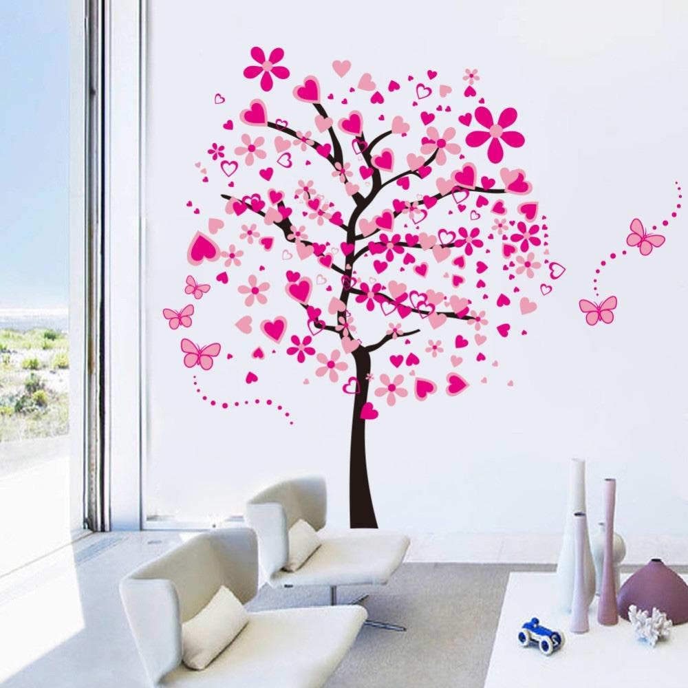 vinil deco pared arbol rosa sala habitacin envio gratis