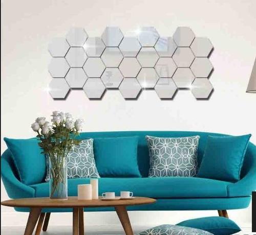 vinil decorativo espejo 3d hexagonal para baño sala cuarto