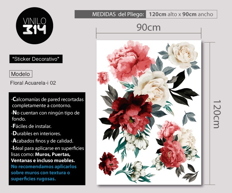 Vinil Decorativo Flores Acuarela 02 Sticker De Pared Gigante