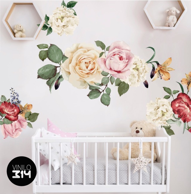 Vinil Decorativo Flores Acuarela 03 Sticker De Pared Gigante
