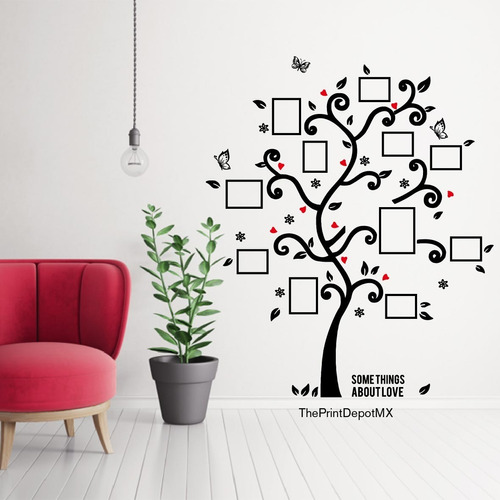 vinil decorativo pared arbol para marcos de fotos 100x120cm