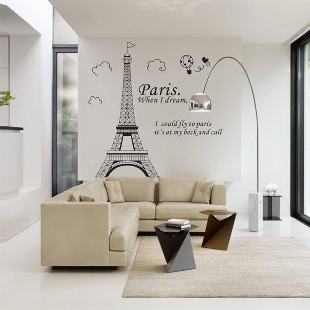 Vinil decorativo torre eifel estancia sala recamara for Murales en 3d para salas