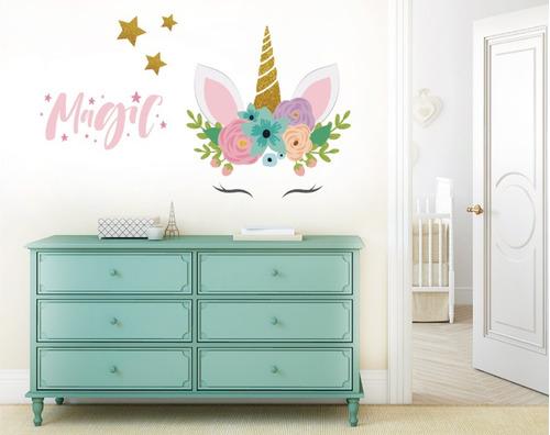 vinil decorativo unicornio con ojitos y flores 03 sticker xl