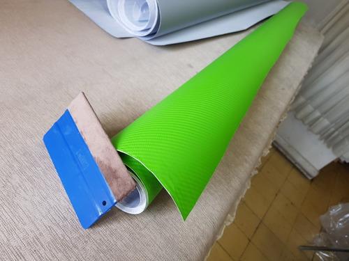 vinil fibra carbono verde 1m x152 + instructivo  vinyl world