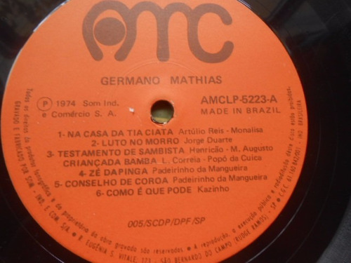 vinil germano mathias na casa da tia ciata lp 1974 raro