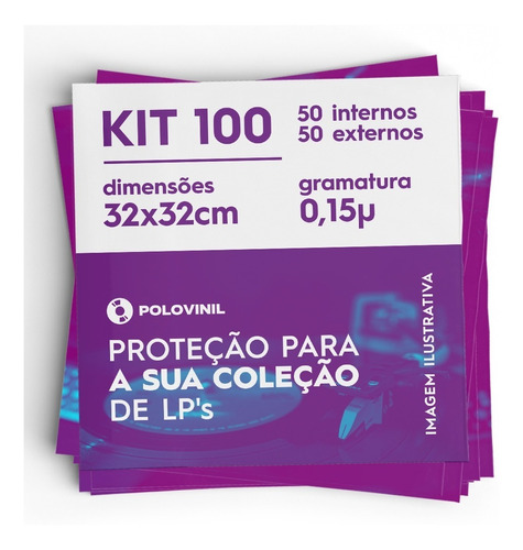 vinil lp 100 plasticos 50 externo grosso 0.15 + 50 internos
