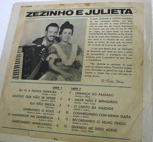 vinil / lp - zezinho e julieta - 1971