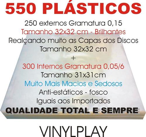 vinil lps 550 plásticos 250 grosso 0,15 + 300 internos sacos
