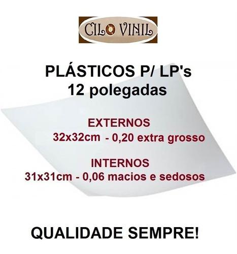 vinil lps 60 plásticos - 30 extra grosso 0,20 + 30 internos