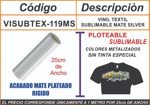 vinil textil sublimable premium plata precio c factura