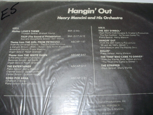 vinilo 12'' hangin' out with henry mancini rca uru 1974
