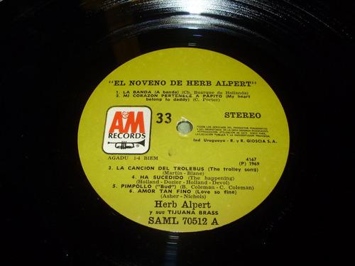 vinilo 12'' herb alpert's tijuana brass ninth a&m uru 1969