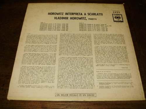 vinilo 12'' horowitz scarlatti 12 sonatas cbs sondor uruguay