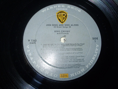 vinilo 12'' join bing & sing alone b. crosby warner usa 1960