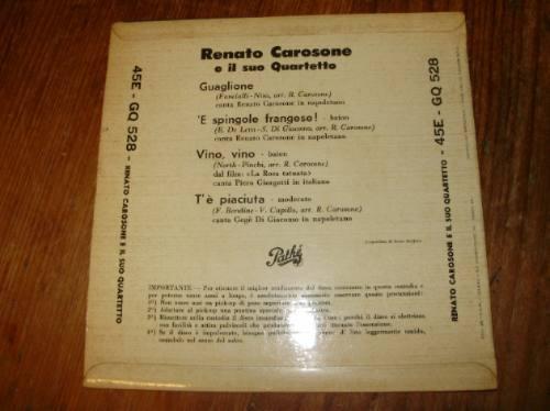vinilo 7'' renato carosone guaglione pathe italy 1956