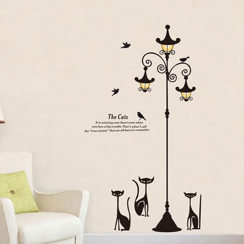 vinilo adhesivo decoración sala gatos y lampara jm7308