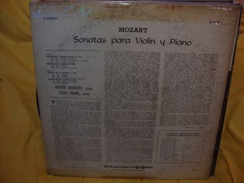 vinilo arthur grumiaux violin clara haskil piano mozart p3