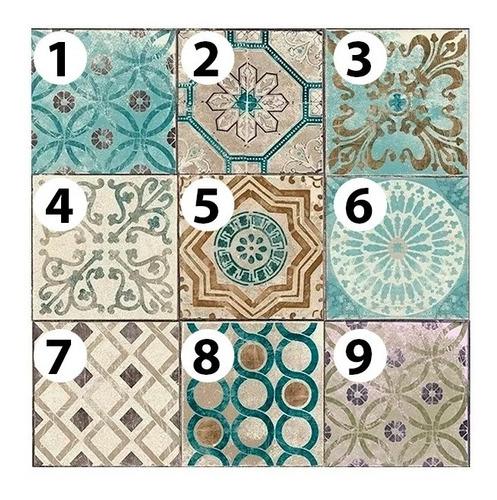 vinilo azulejo mosaico adhesivo 20x20 piso  x 10u laminado