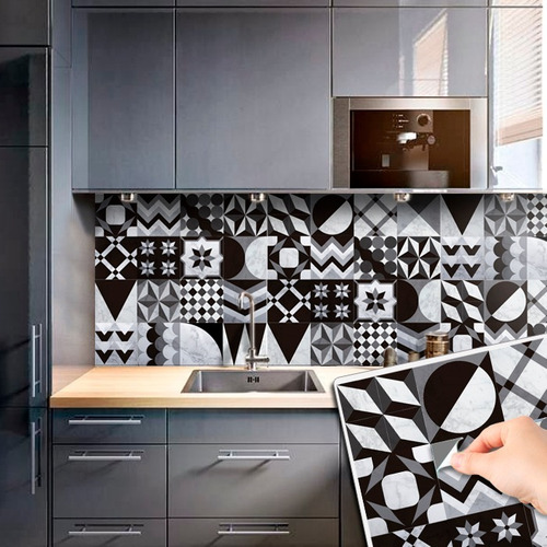 vinilo azulejo mosaico adhesivo marmol 20x20 piso  x 10u
