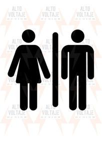 9030c39875dc Vinilo Baño Calco Hombre Mujer 12 X 13 Deco Puerta Pared