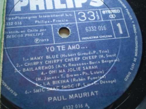 vinilo de  paul mauriat --yo te amo (285)