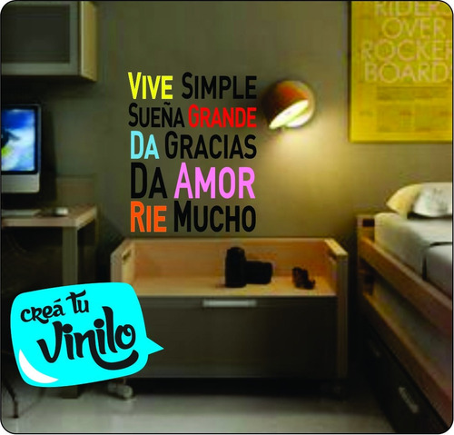 Vinilo frase vive simple decoracion hogar 75 700 00 for Decoracion hogar uruguay