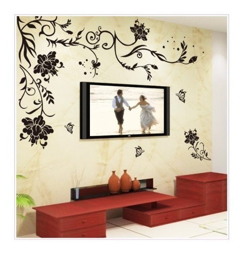 vinilo decoración mariposas flores negra pared sala ay9166