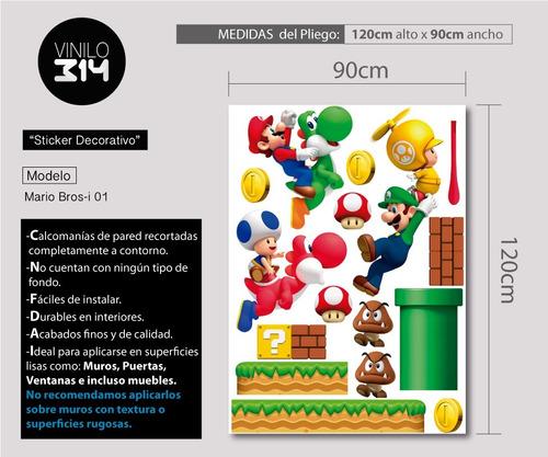 vinilo decorativo 3d mario bros stickers de pared 140x120cm