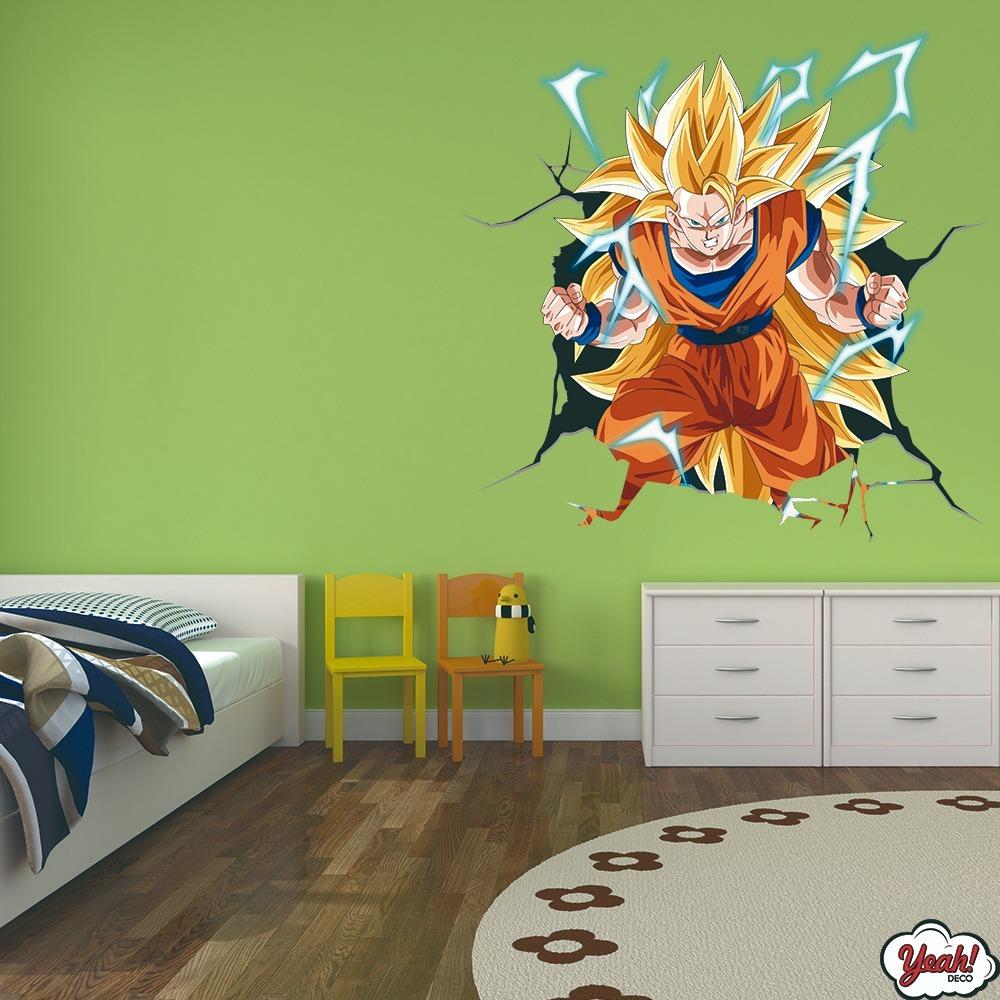 Vinilo Decorativo 3d Pared Rota Dragon Ball Goku Esfera