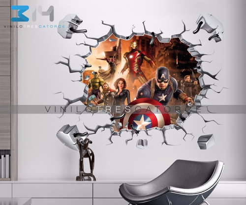 vinilo decorativo 3d superhéroes avengers-23 sticker calca