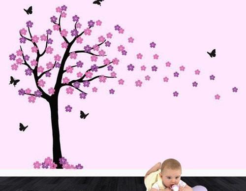 vinilo decorativo árbol 80x150 más flores y mariposas