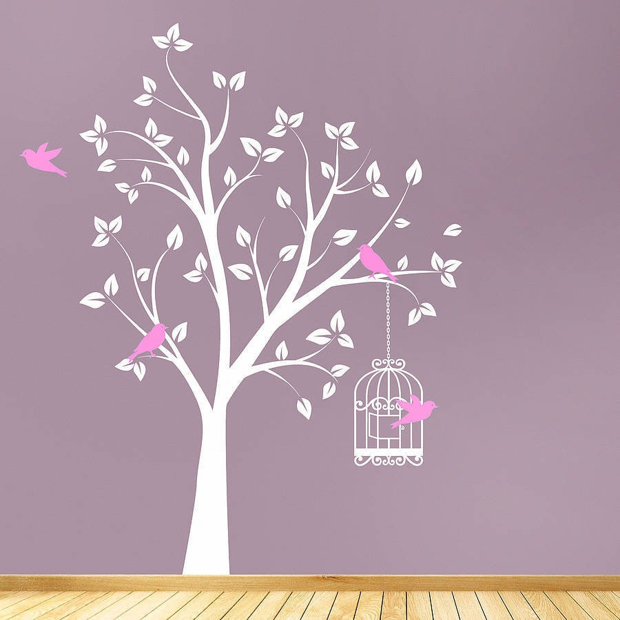 Vinilo decorativo rbol con p jaros sticker sala rec mara for Sala vinilo