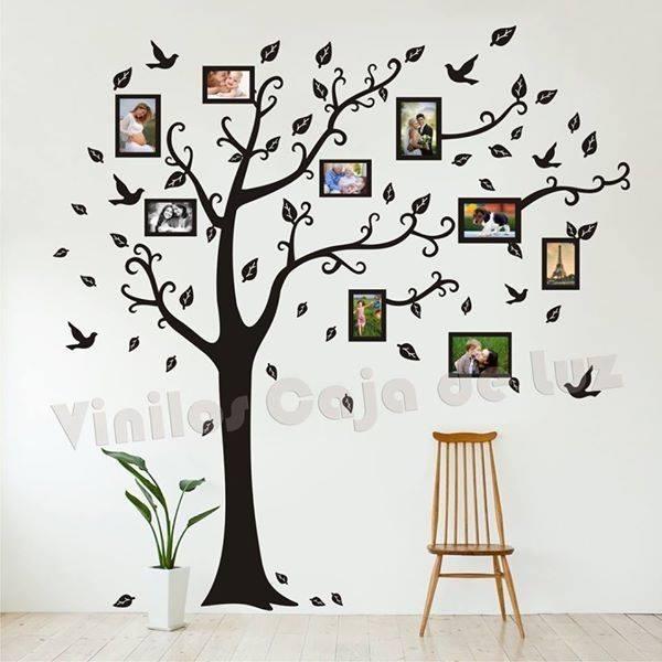 Vinilo Decorativo árbol Genealógico Con Marcos Para Fotos 1250
