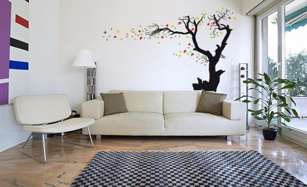 Vinilo decorativo arbol hojas grande decoracion de paredes bs en mercado libre - Adornos de pared ...