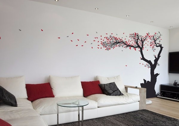 Vinilo decorativo arbol hojas mediano decoracion de for Decoracion para la pared