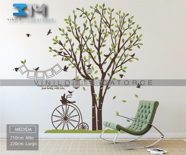 Vinilo Decorativo Arbol, Jaulas, Pájaros, Marcos Y Bicicleta ...