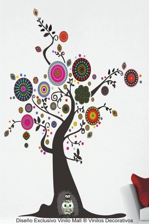 Vinilo Decorativo Arbol Mandalas Buhos Pared 180x150cm Ofert