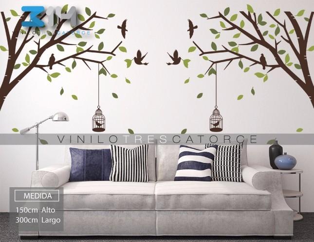 Vinilo decorativo arbol rama jaulas y p jaros - Vinilos grandes para pared ...