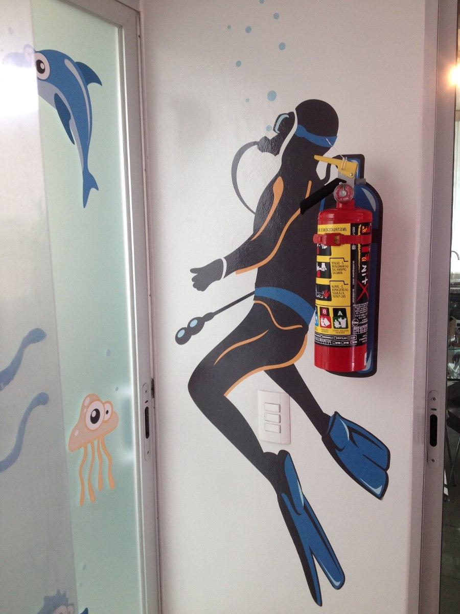 Vinilo decorativo buzo porta extintor 02 calcoman a de for Calcomanias para pared