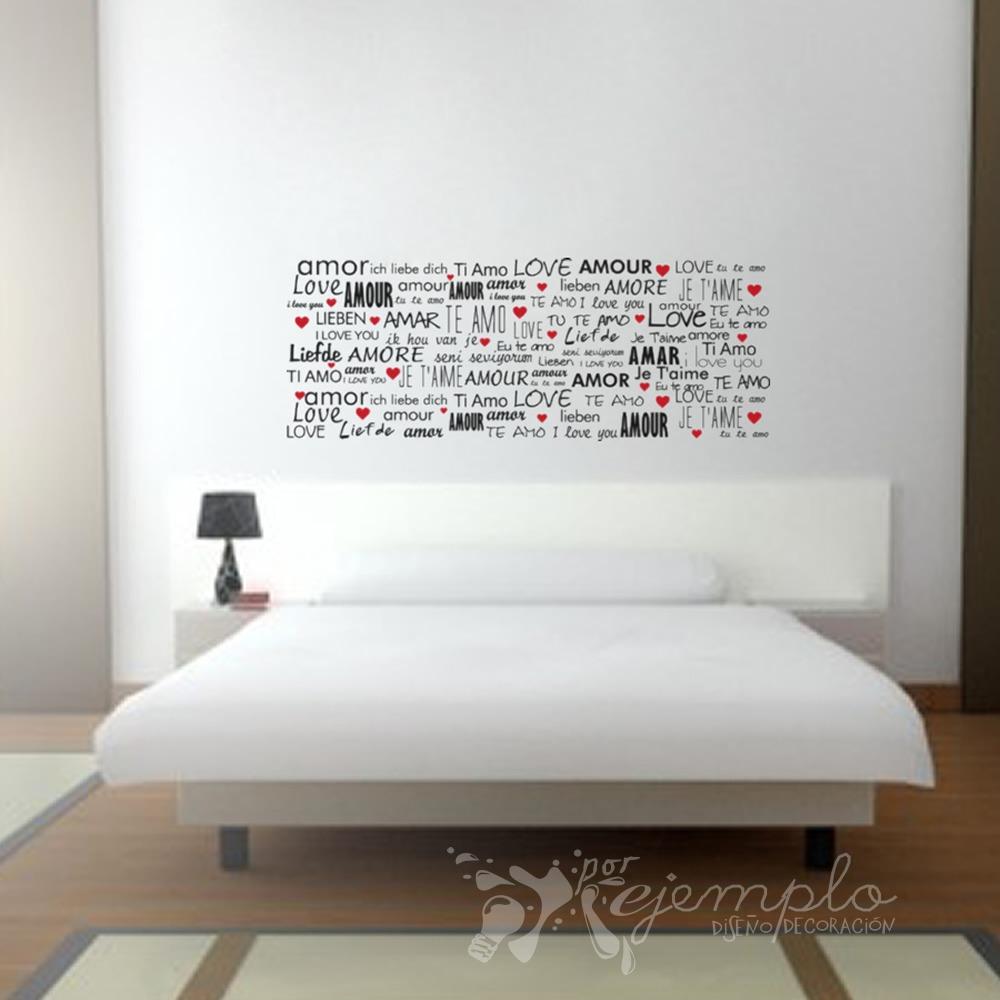 Vinilo decorativo cabecero cama amor idiomas en - Vinilo cabecero cama ...