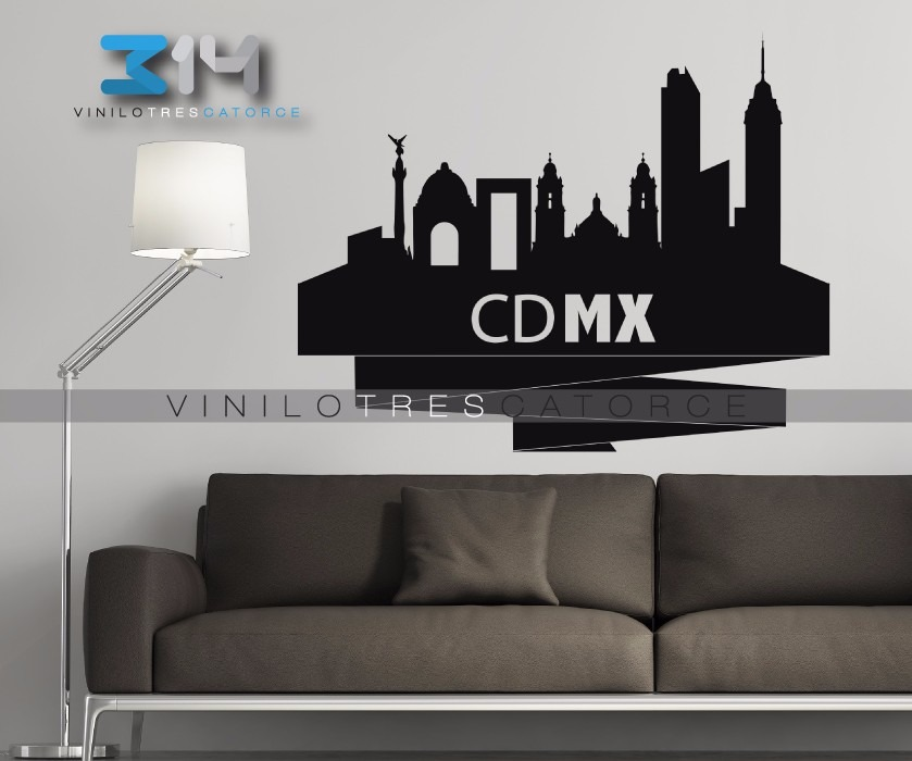 Vinilo decorativo cdmx skyline ciudad de m xico sticker for Plaquetas de vinilo para paredes