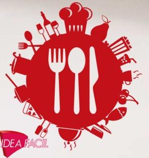 vinilo decorativo cocina cafeteria restaurante - 100 x 100