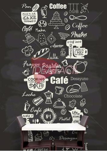 vinilo decorativo cocina cafeteria restaurante - 110b x 240a
