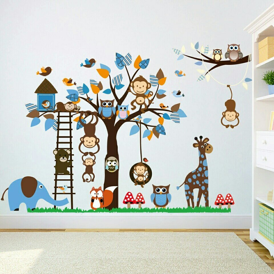 vinilo decorativo cuarto de beb safari infantil selva. Black Bedroom Furniture Sets. Home Design Ideas