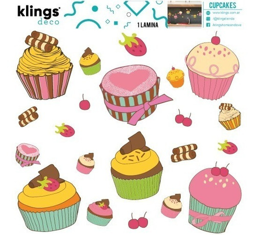 vinilo decorativo cupcakes muffin coloridos