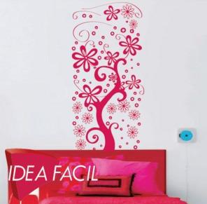 vinilo decorativo enredadera y flores - 60 b x 125 a